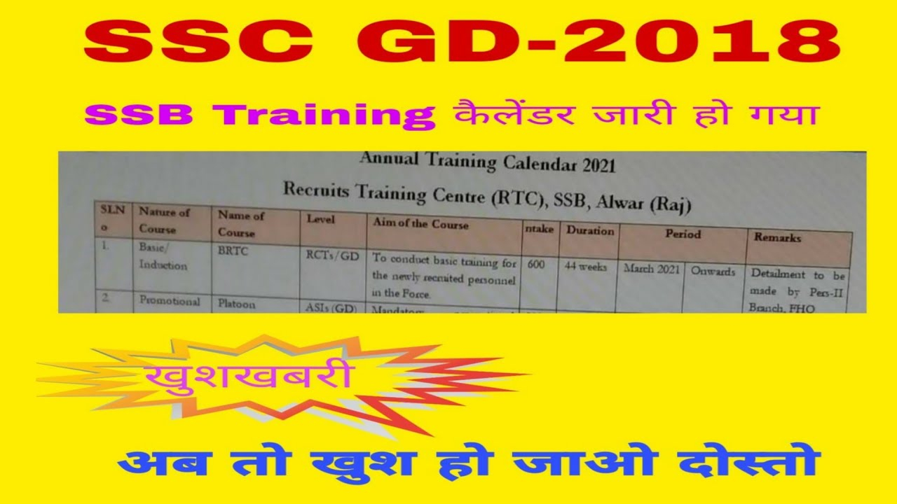 Ssc Gd Training Calender 2021 Realesed || Ssc Training Calender 2021  Released| Today Latest Update