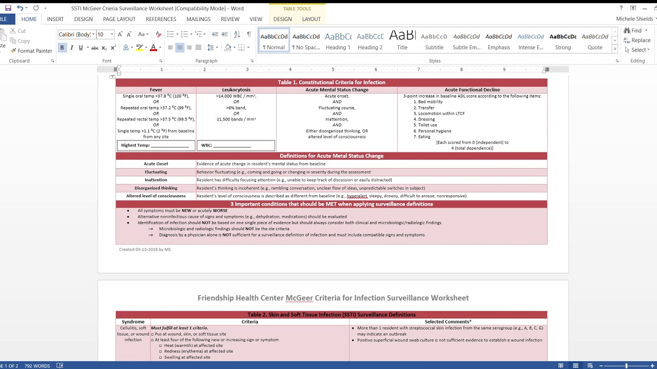 Ssti Mcgeer Criteria Surveillance Worksheet - Youtube