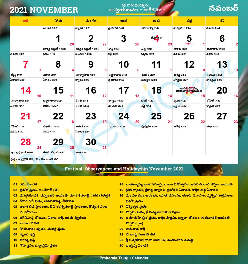 Telugu Calendar 2021 | Andhra Pradesh & Telangana Festivals