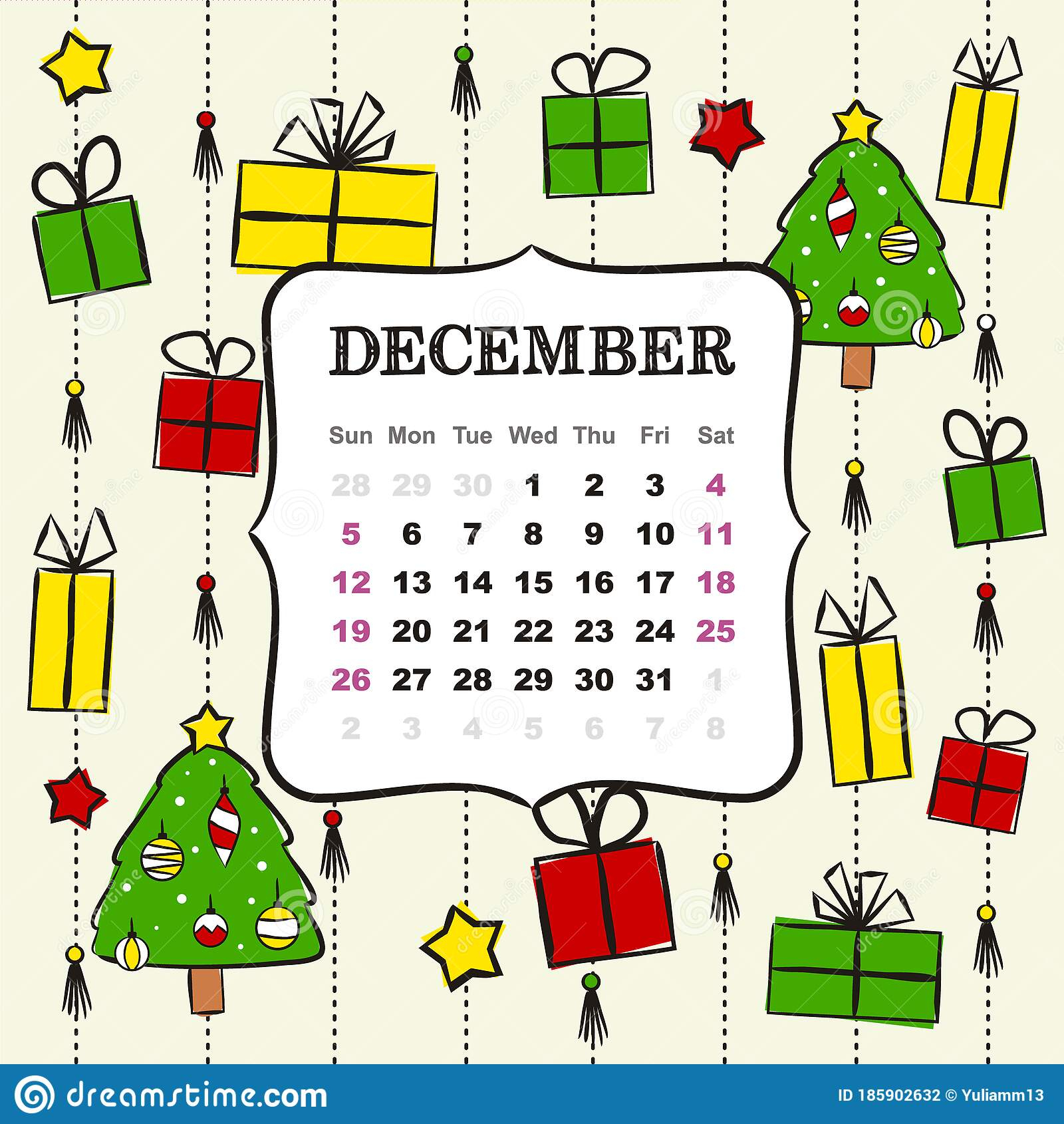 December 2021 Calendar Winter Theme