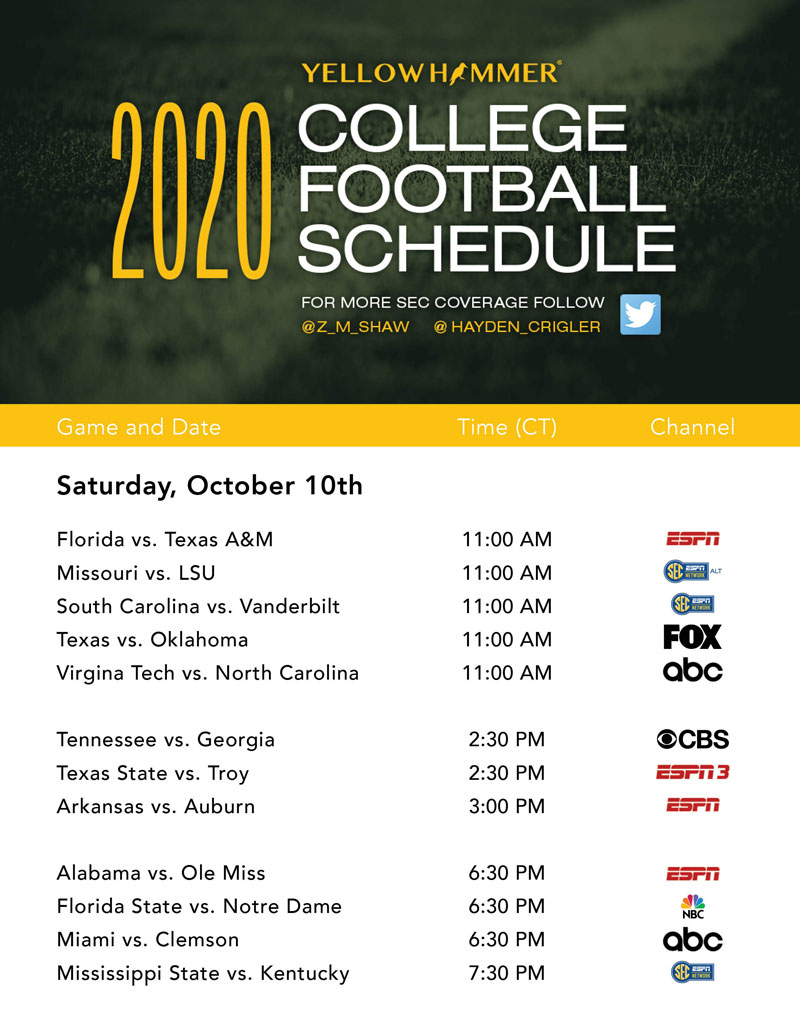 This Weekend'S College Football Tv Schedule - Yellowhammer