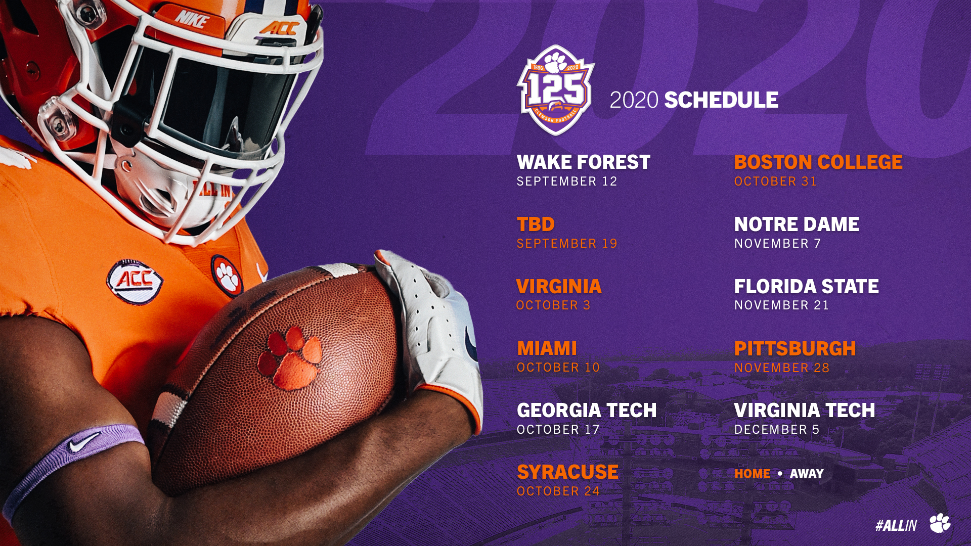 Updated 2020 Football Schedule Announced – Clemson Tigers
