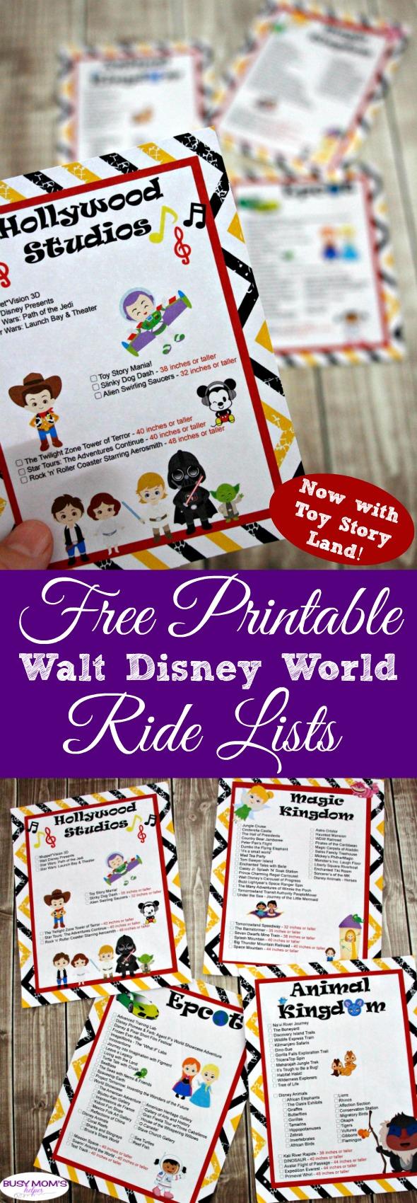 Updated Walt Disney World Ride Lists - Busy Moms Helper