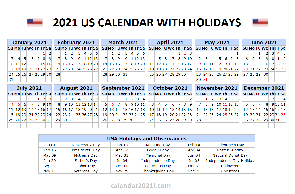 Us 2021 Holidays Calendar In 2021 | Holiday Words, 2021