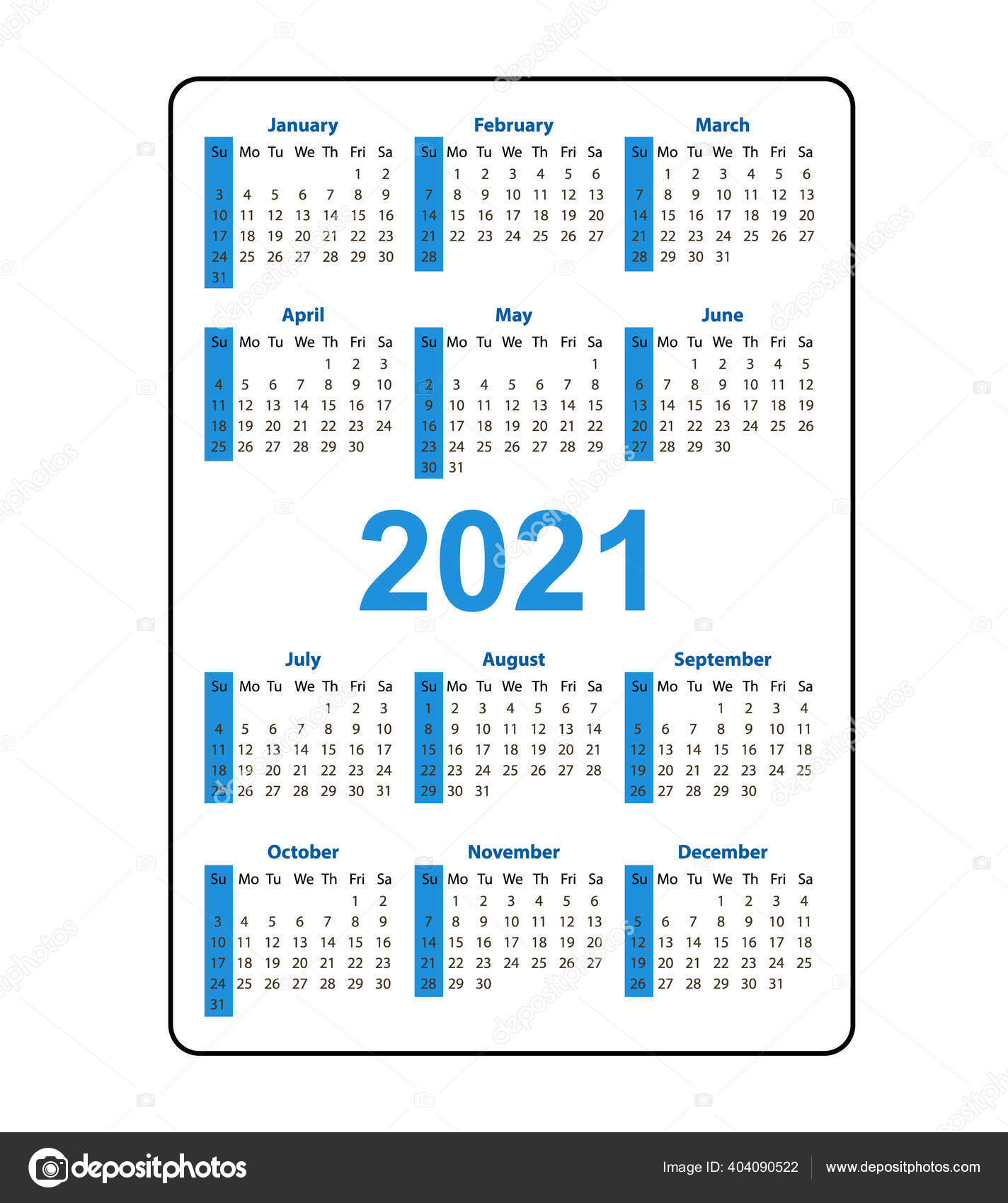 Vertical Pocket Calendar 2021 Year. Week Starts From Sunday. Vector Blue  Template Calendar For Business Isolated On White Background. 404090522