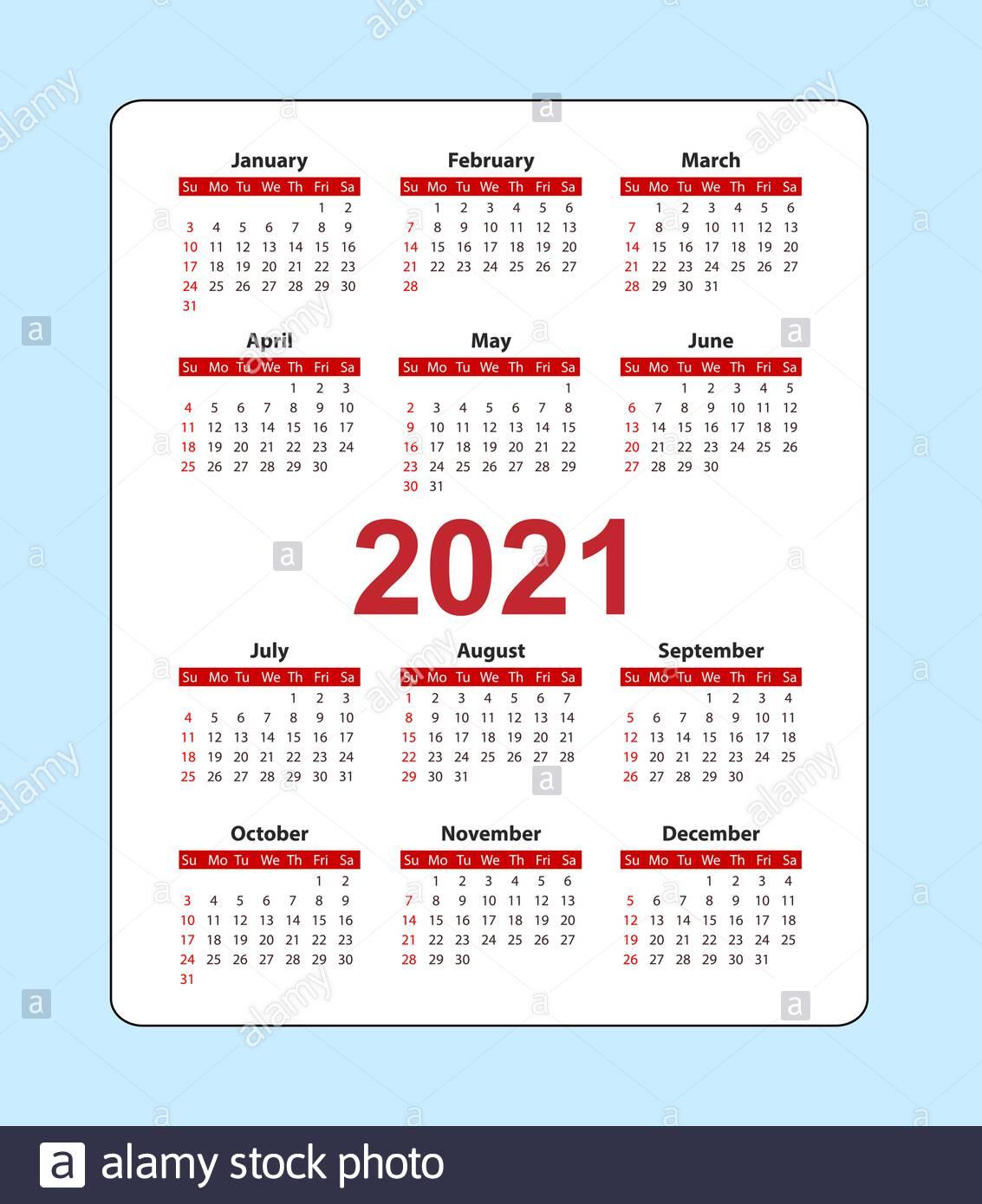 Vertical Pocket Calendar 2021 Year. Week Starts From Sunday