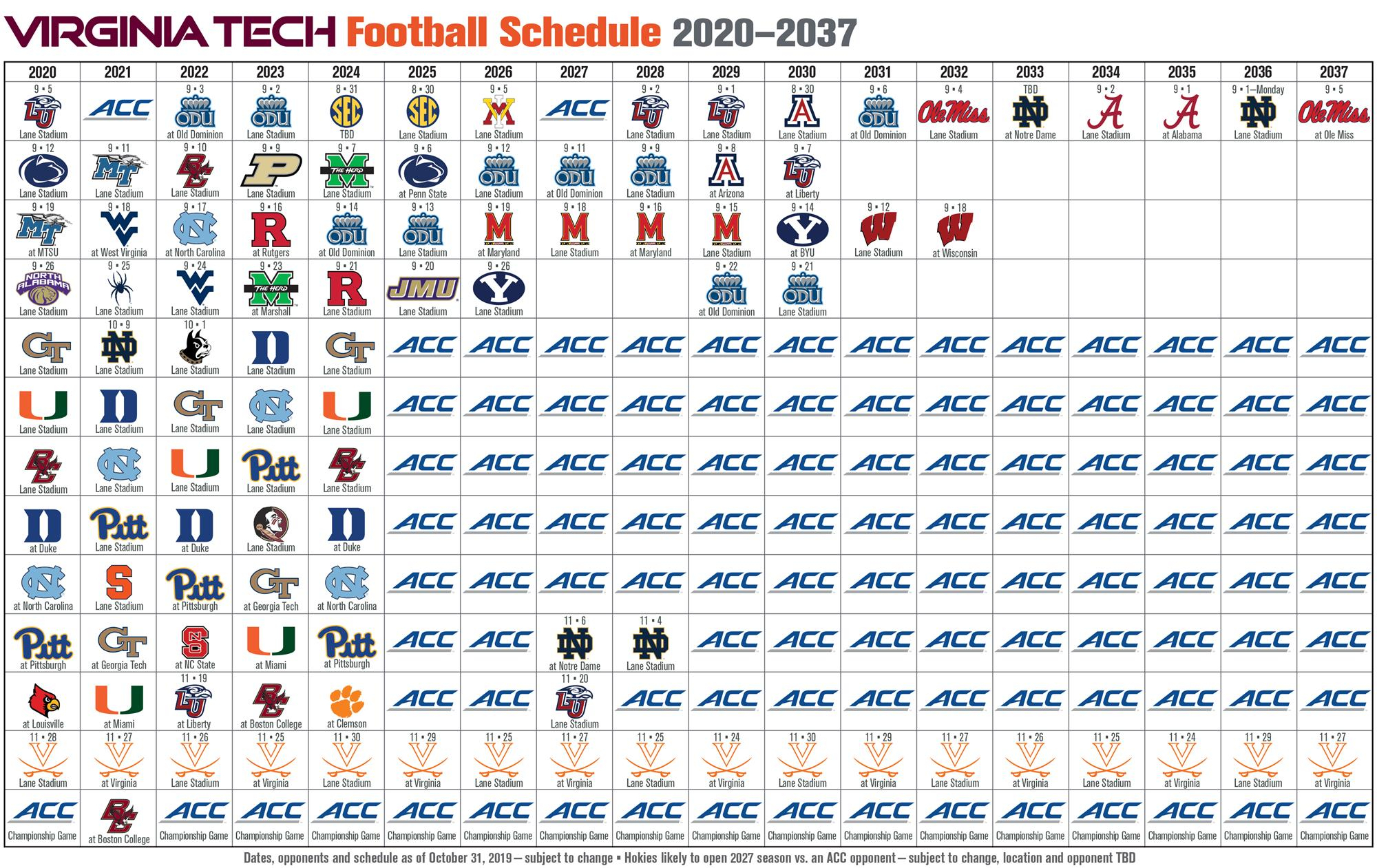 Virginia Tech Future Football Schedules | Techsideline