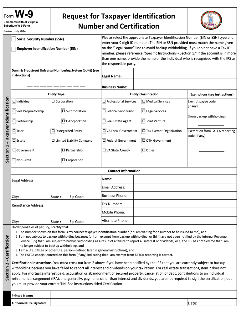 W9 Virginia - Fill Out And Sign Printable Pdf Template   Signnow