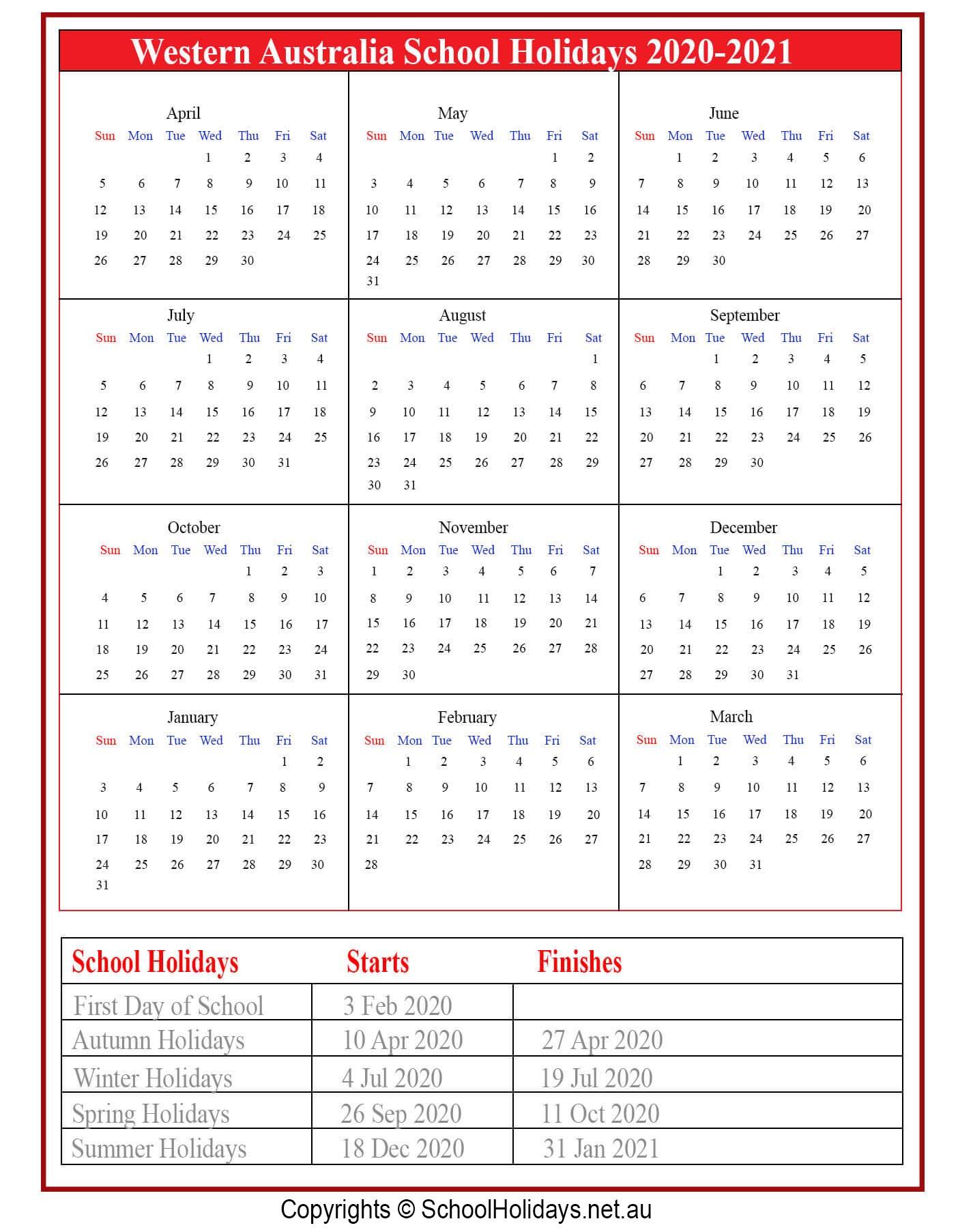 Wa *School Holidays* 2020 [Western Australia ]❤️