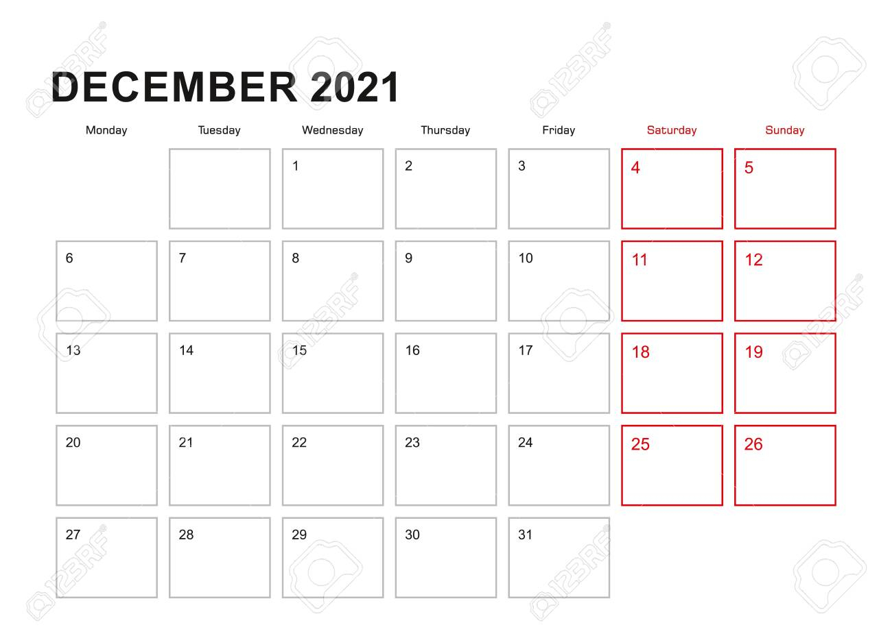 Wall Planner For December 2021 In English Language, Week Starts..