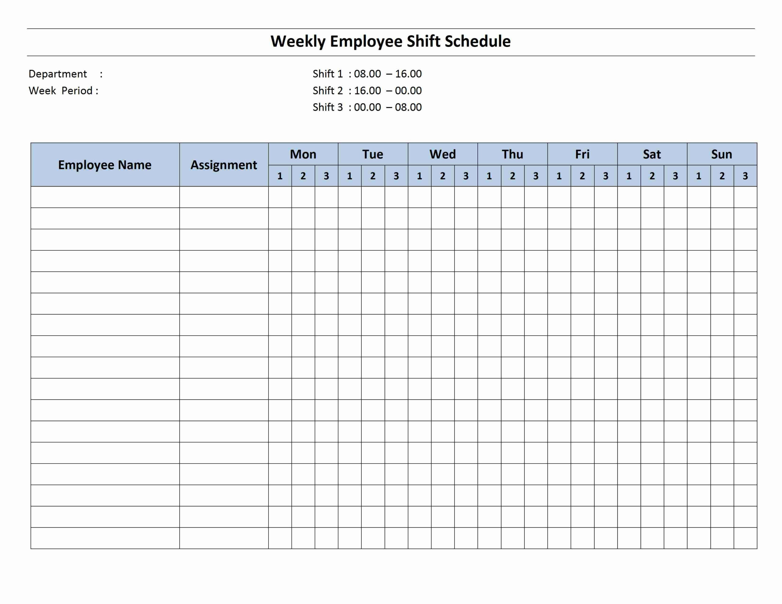 Weekly 8 Hour Shift Schedule | Monthly Schedule Template