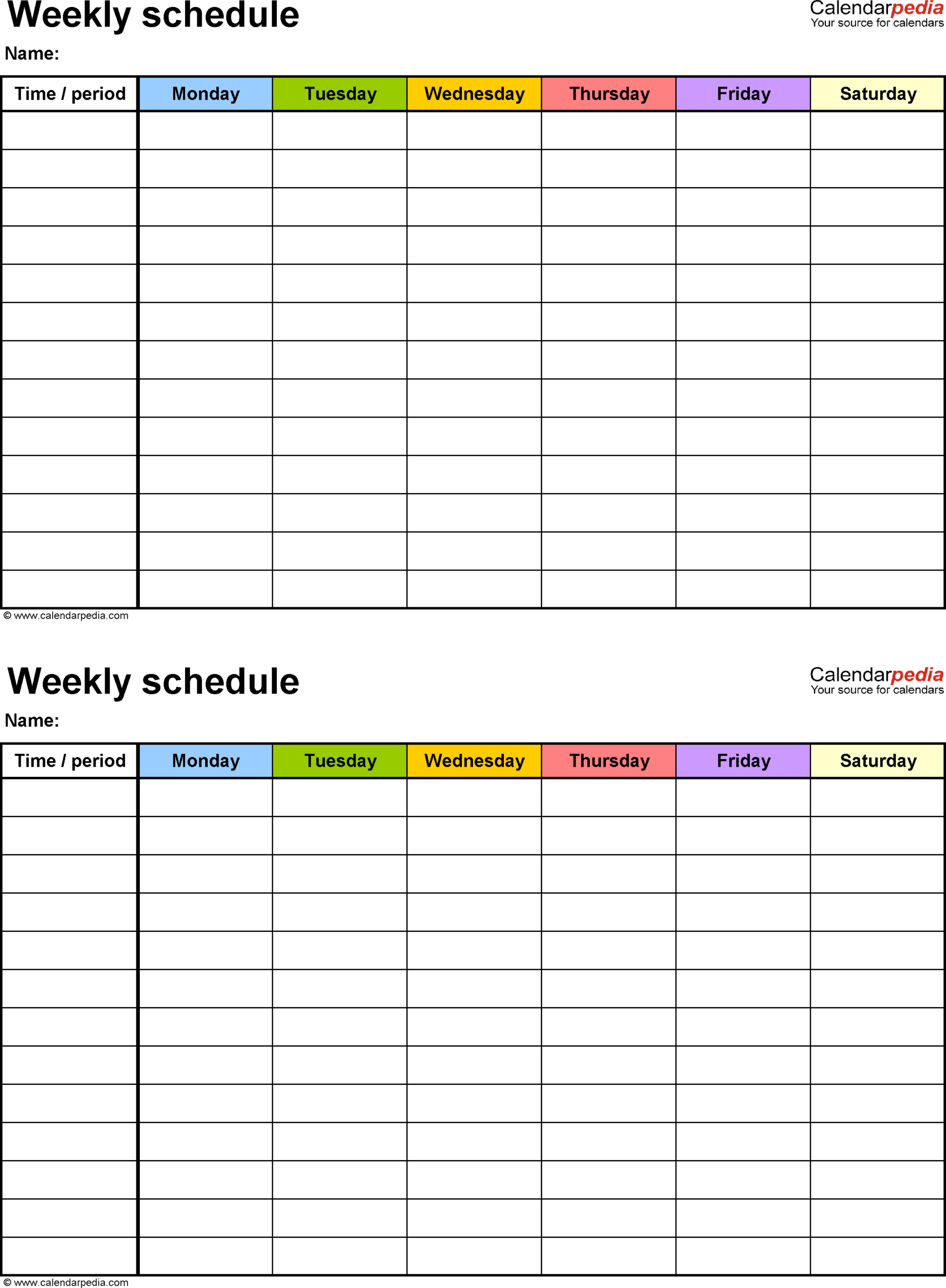 Weekly Schedule Template Sunday Through Saturday Seven