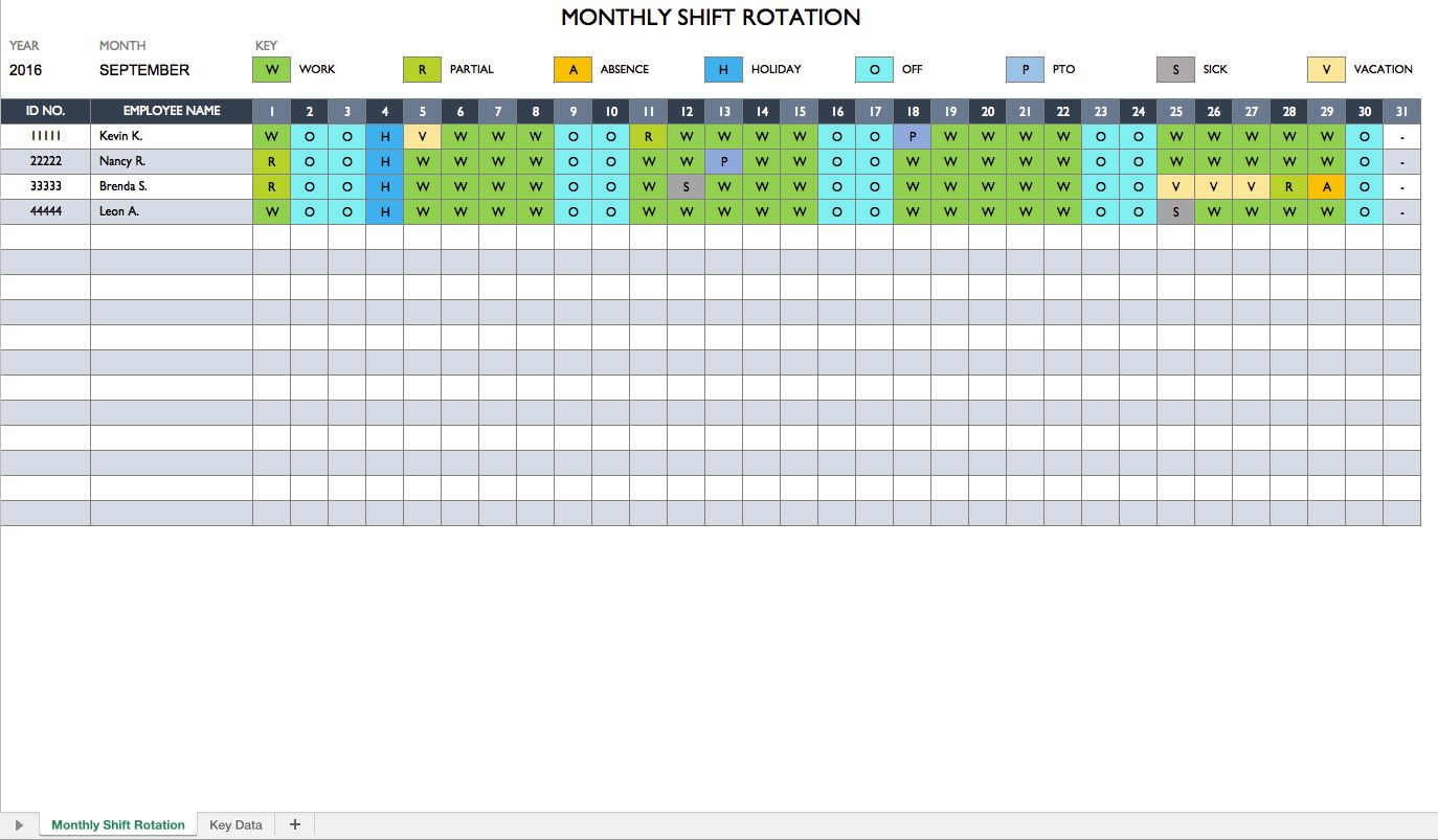 Work Rotation Schedule | Monthly Schedule Template, Schedule
