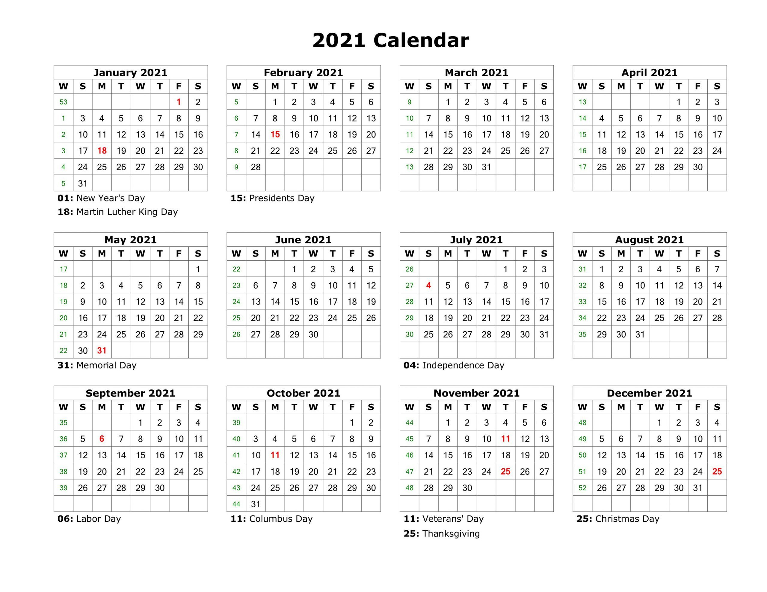 Year At A Glance Calendar 2021 Printable Free For Year At A