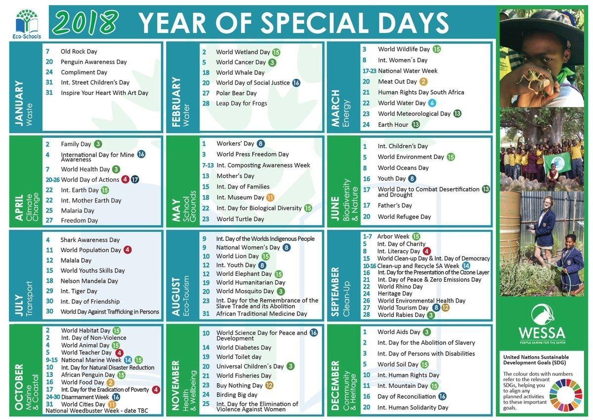 Year Calendar Of Special Days | Special Day Calendar, When
