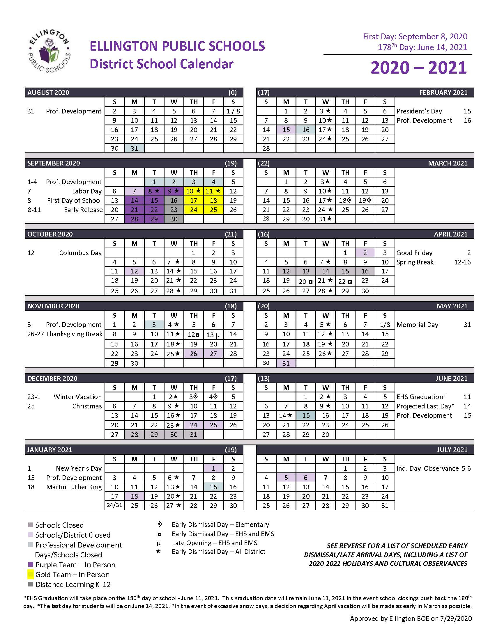 Yearly Calendar And School Hours - Ellington Public Schools