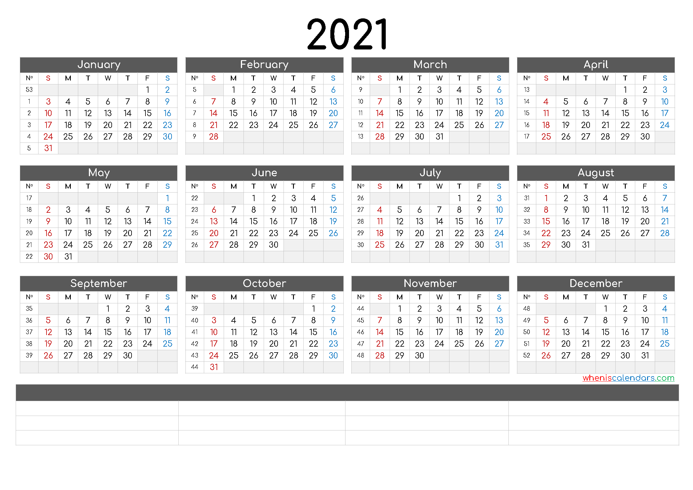 12 Month Calendar Printable 2021 (6 Templates)