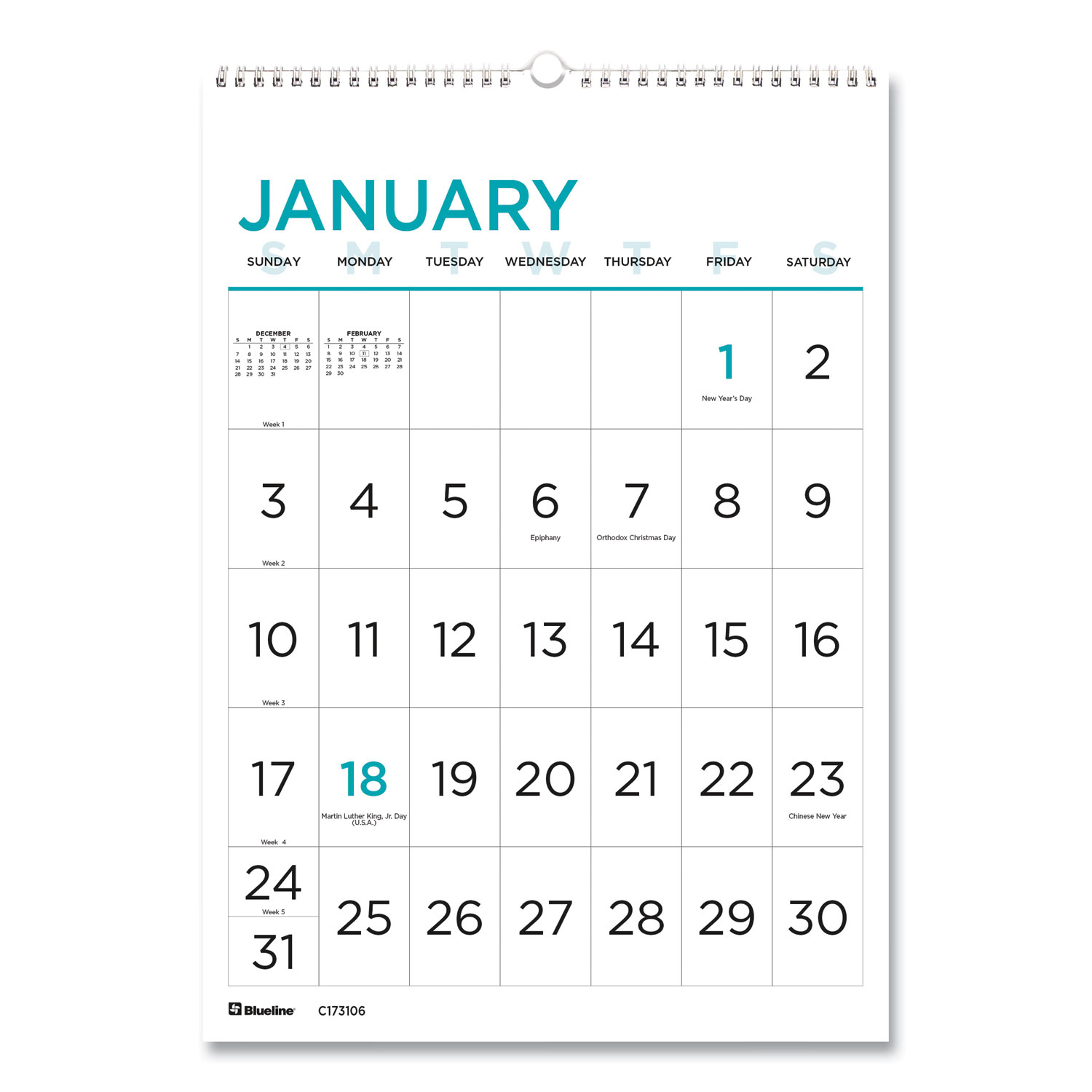 12-Month Large Print Wall Calendar, 12 X 17, White/Blue