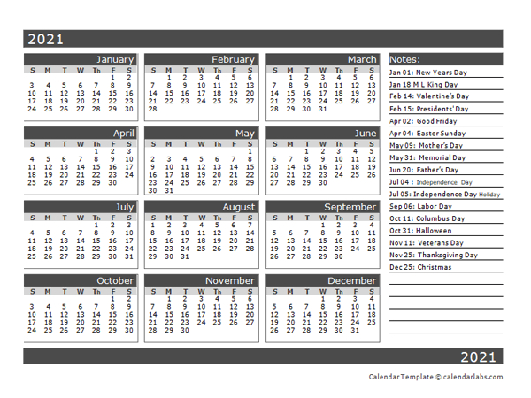 12-Month One Page Calendar Template For 2021 - Free