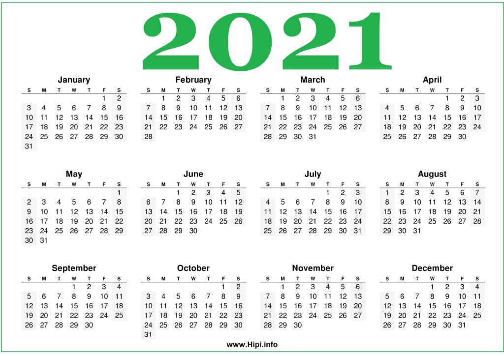Free Printable 2021 Calendars Horizontal - Hipi