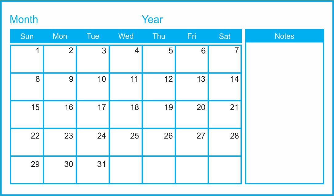 10 Best Printable Blank Monthly Calendar Template