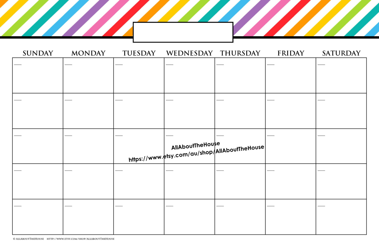 11 X 17 In Message Board Printable Calendar Perpetual Family