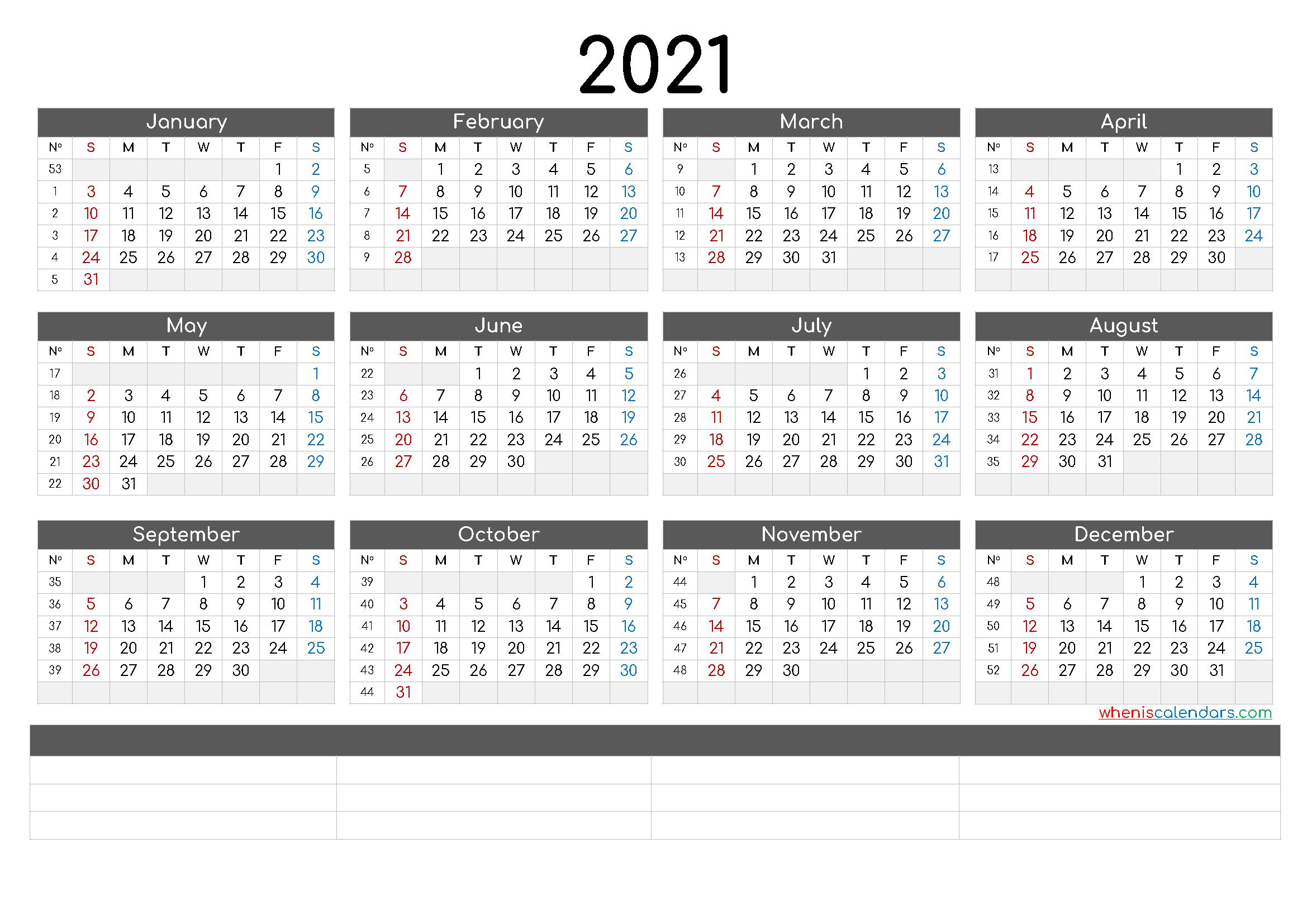 12 Month Calendar Printable 2021 (6 Templates)