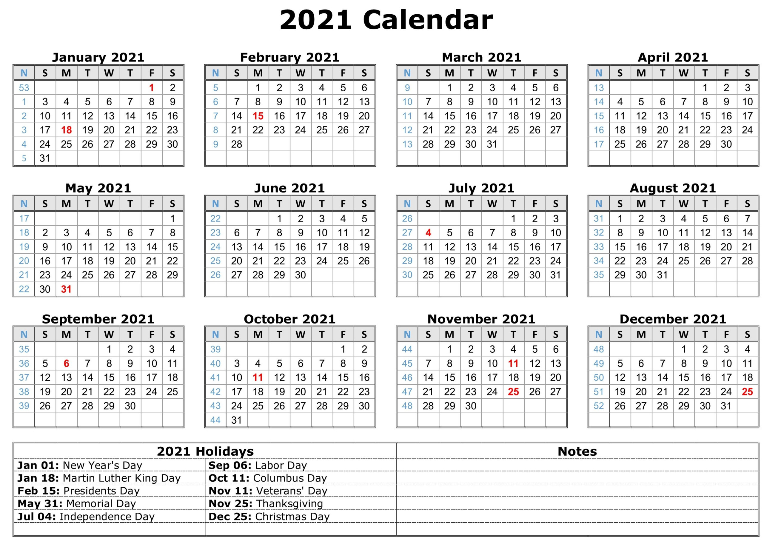 12 Month Printable 2021 Calendar By Month With Holidays   Printable Calendars 2021