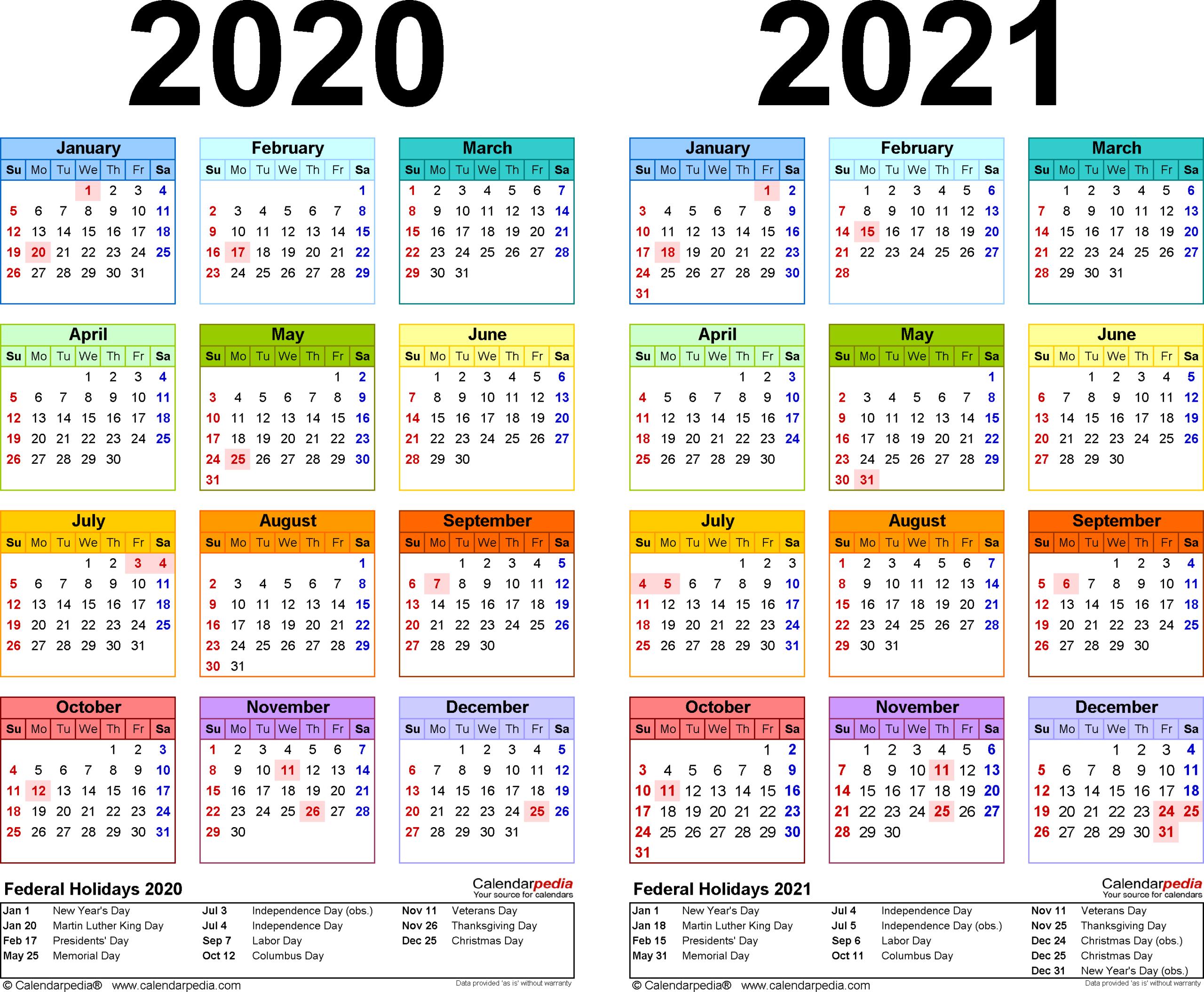 2 Year Pocket Calendar 2020 And 2021   Free Printable Calendar