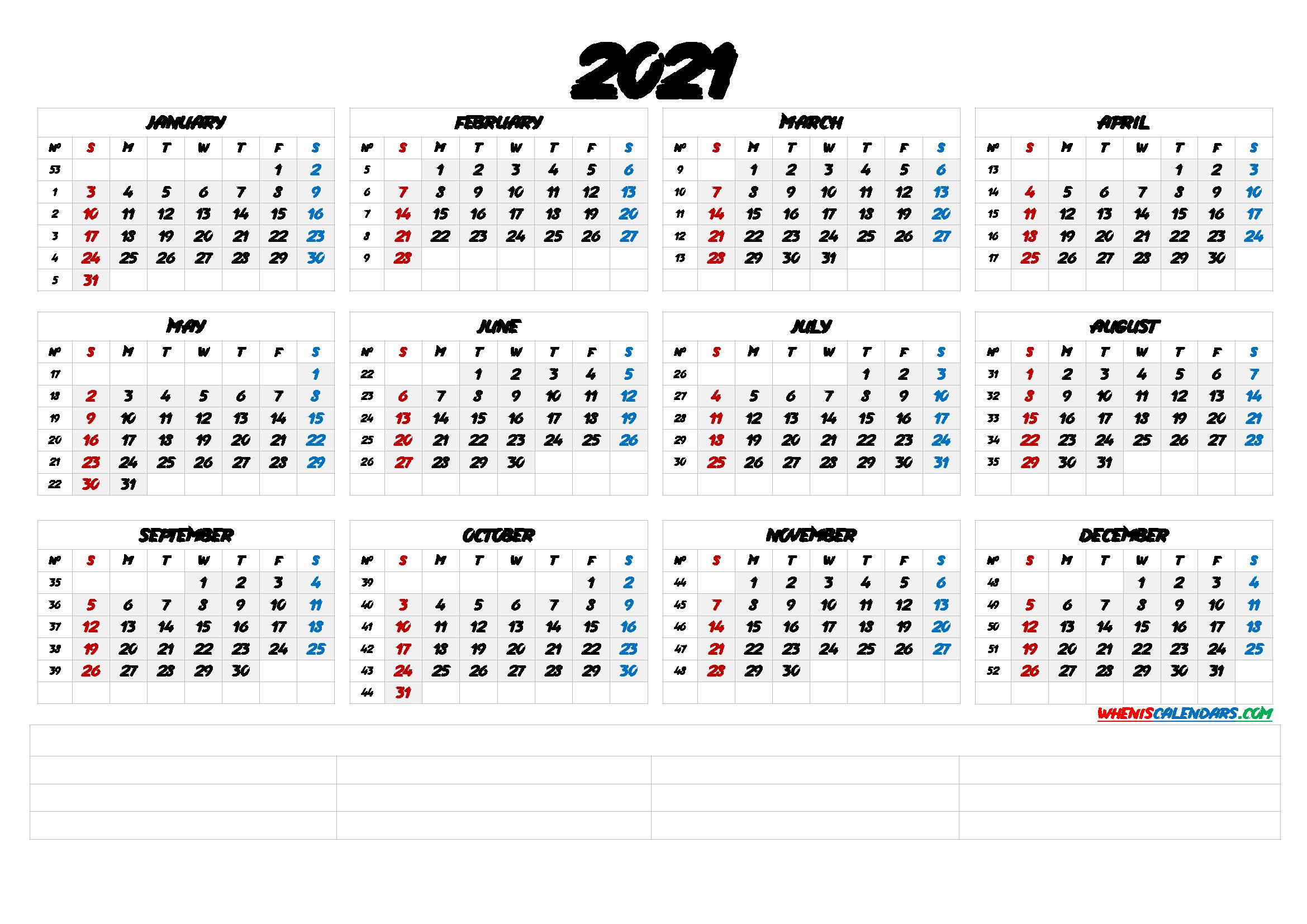 20+ Calendar 2021 By Week Number - Free Download Printable