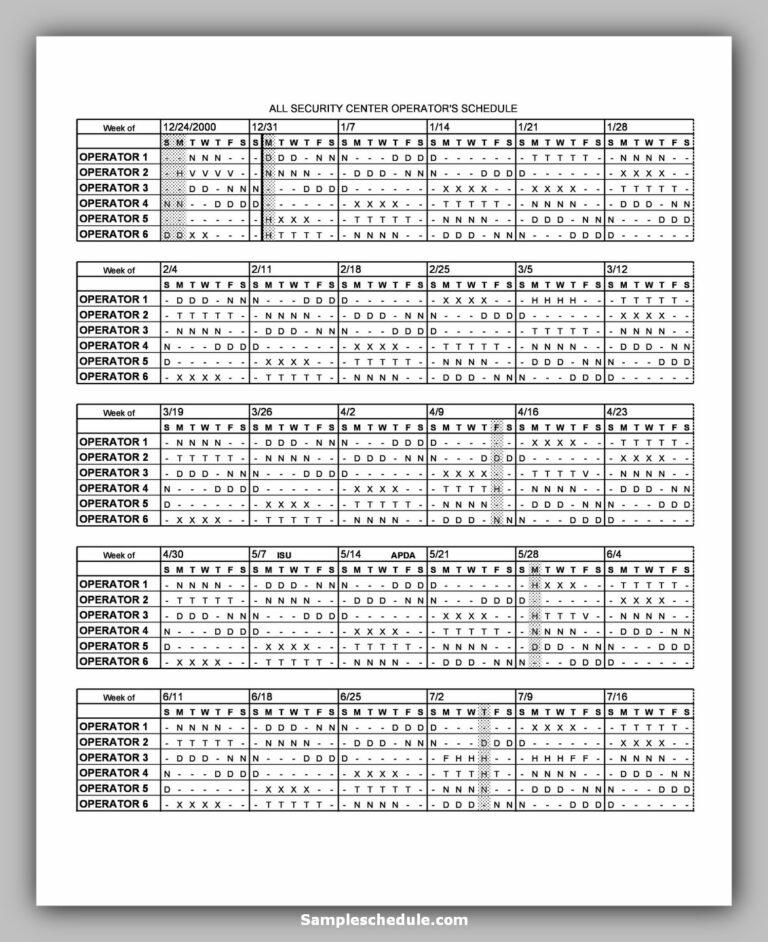 20 Dupont Shift Schedule | Sample Schedule