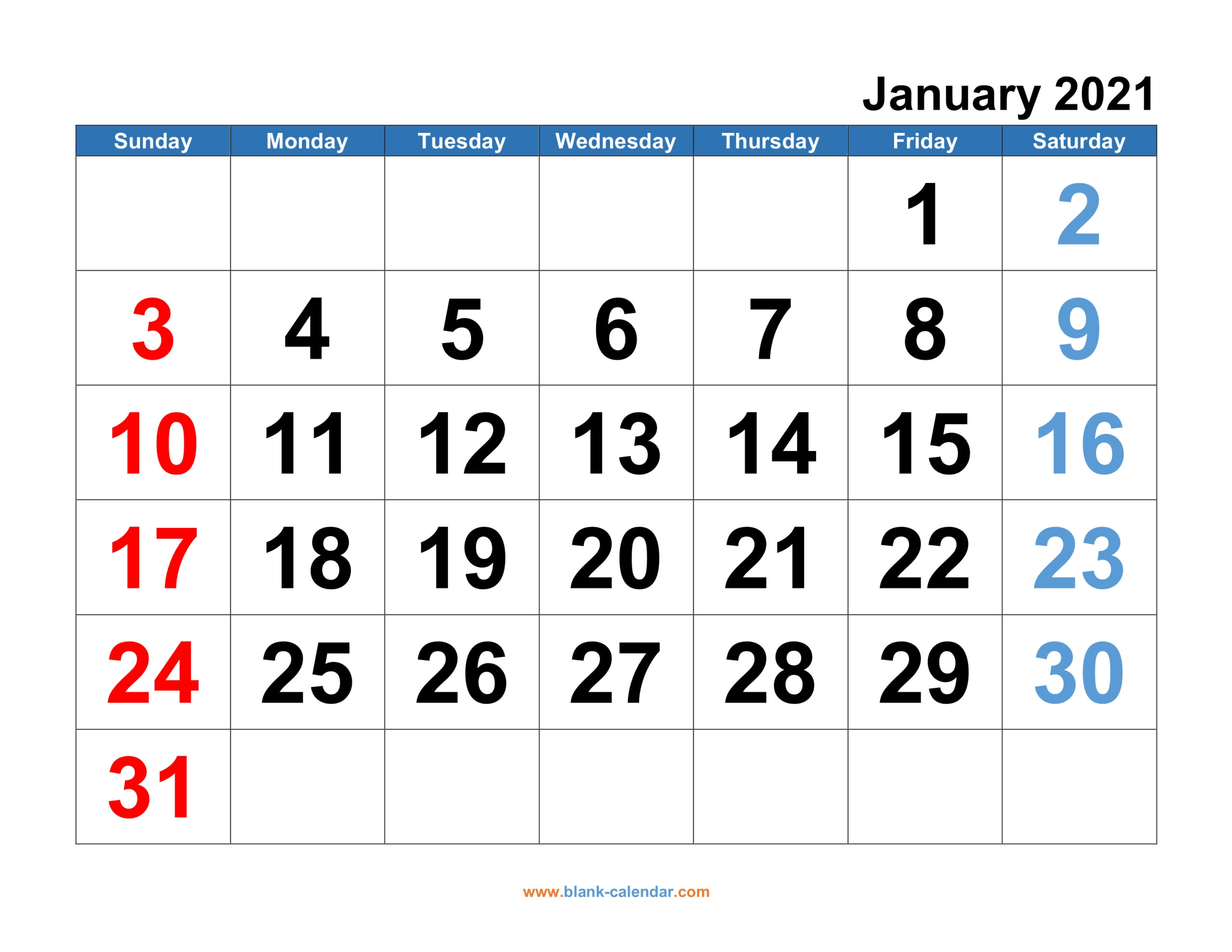 20+ January 2021 Calendar Big Numbers - Free Download