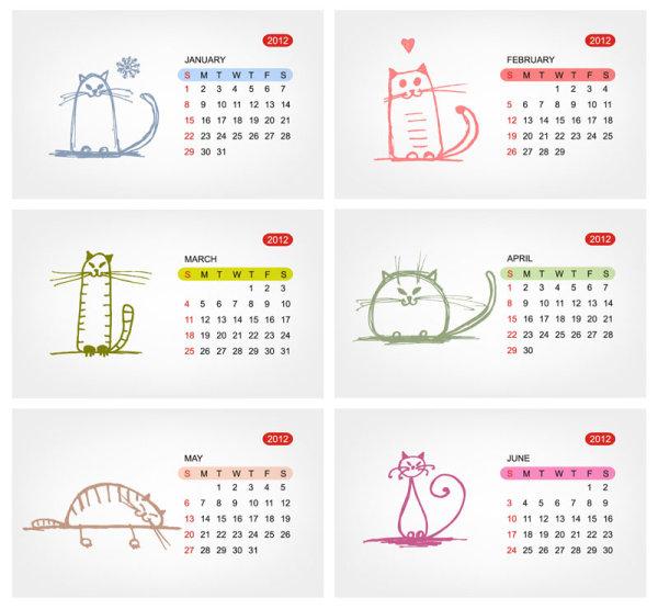 2012 Calendar Template Vector 02   Download Free Vectors