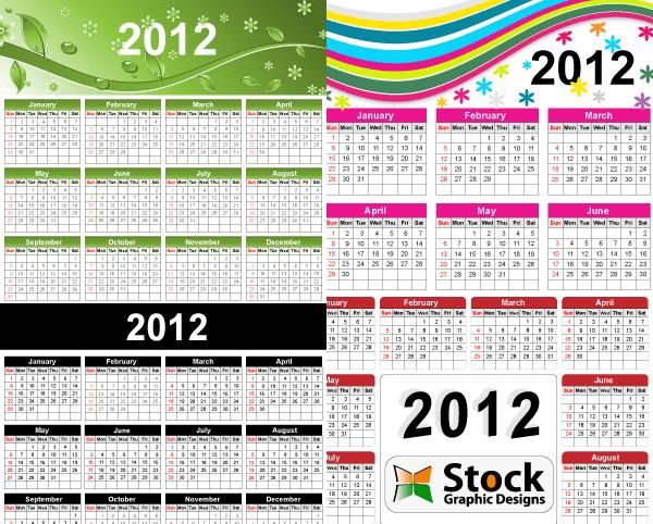 2012 Free Vector Calendar   Vector Free, Calendar Vector