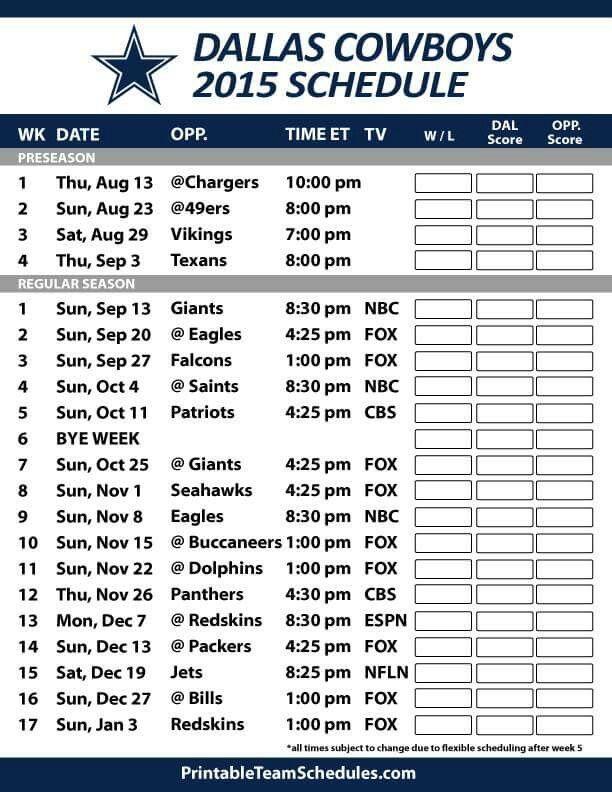 Printable New England Patriots Schedule