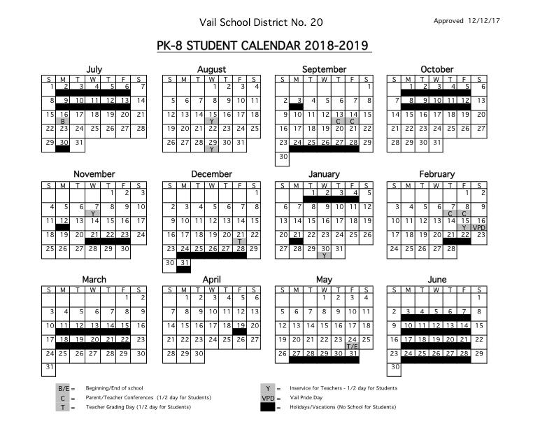 2018 - 2019 Student Calendars | Vail School District