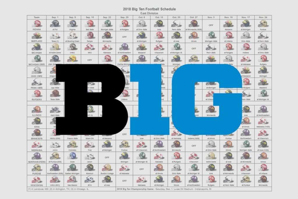 2018 Big Ten Football Helmet Schedule