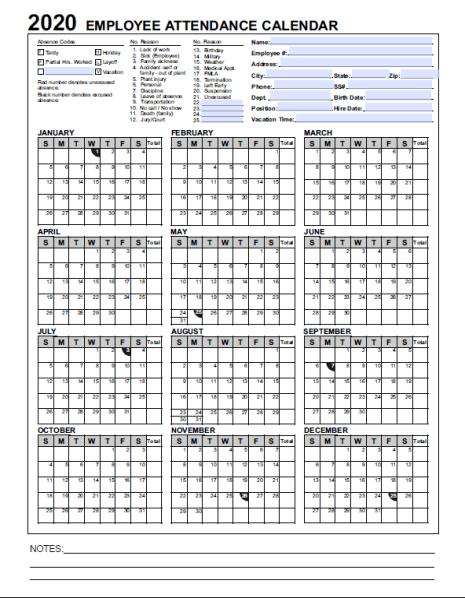 2018 Employee & Staff Attendance Record Calendar In Pdf