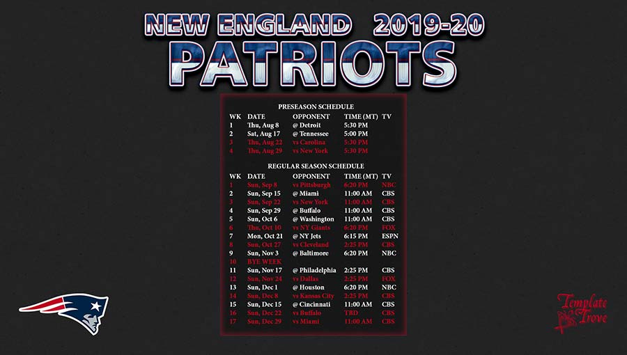 2019-2020 New England Patriots Wallpaper Schedule
