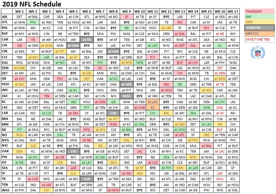 2019 Nfl Schedule