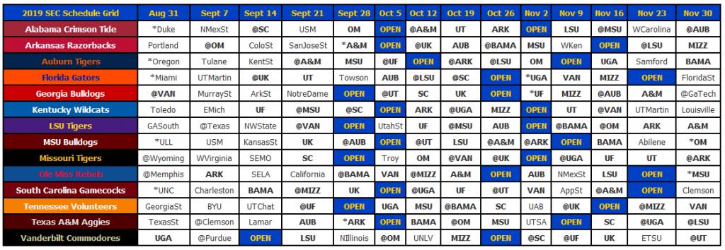 2019 Sec Football Schedule - Sec12 - Sec Football