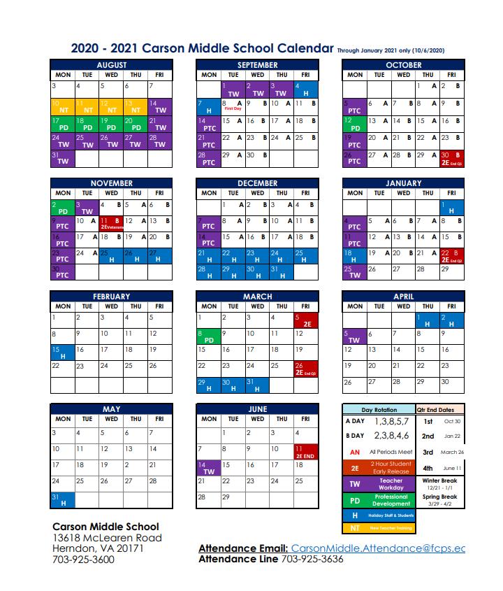 2020-2021 A/B Calendar | Rachel Carson Middle School