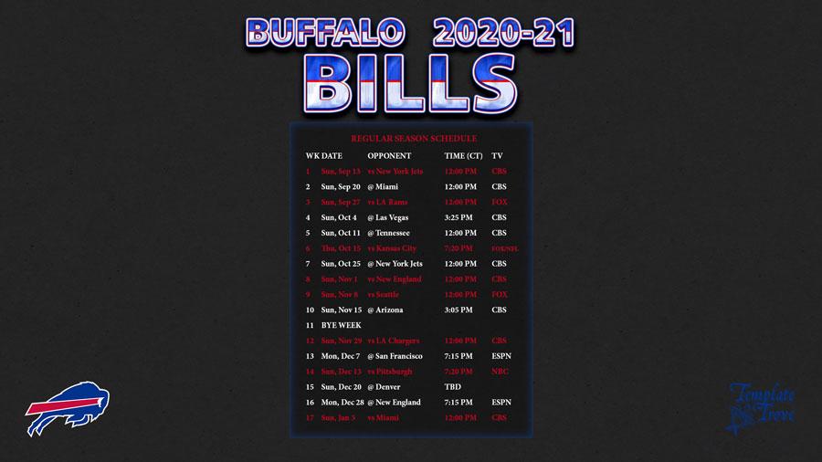 2020-2021 Buffalo Bills Wallpaper Schedule