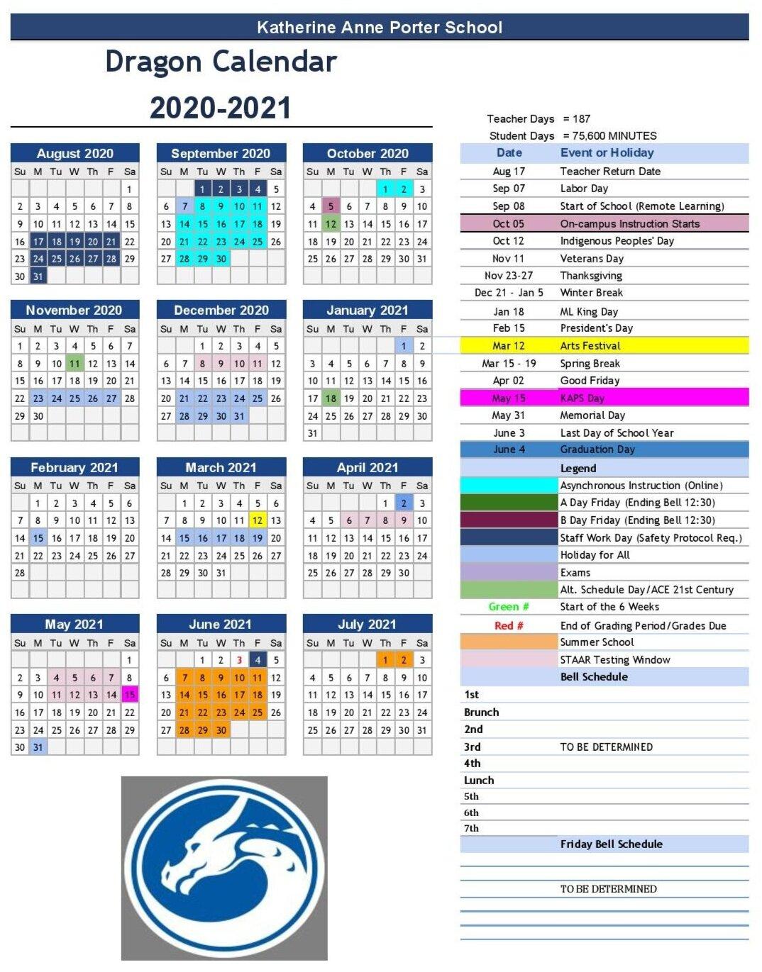 2020-2021 Calendar — Katherine Anne Porter School