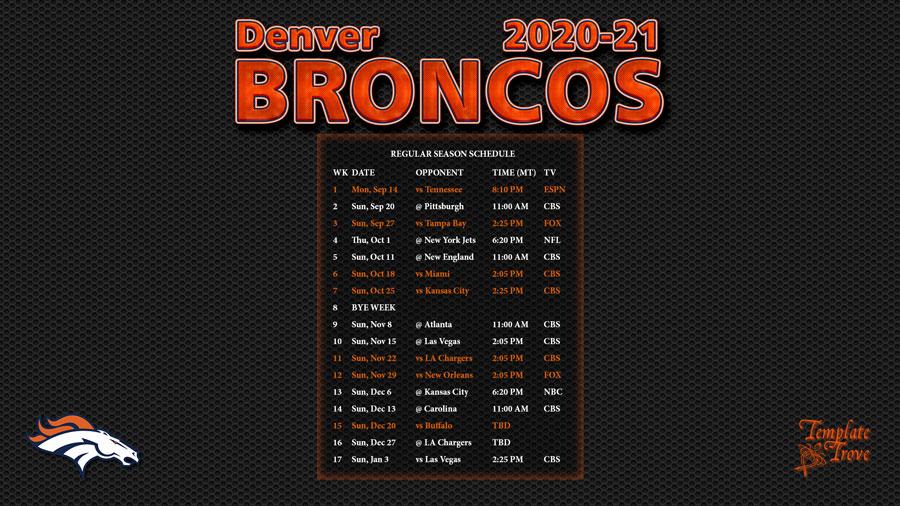 2020-2021 Denver Broncos Wallpaper Schedule