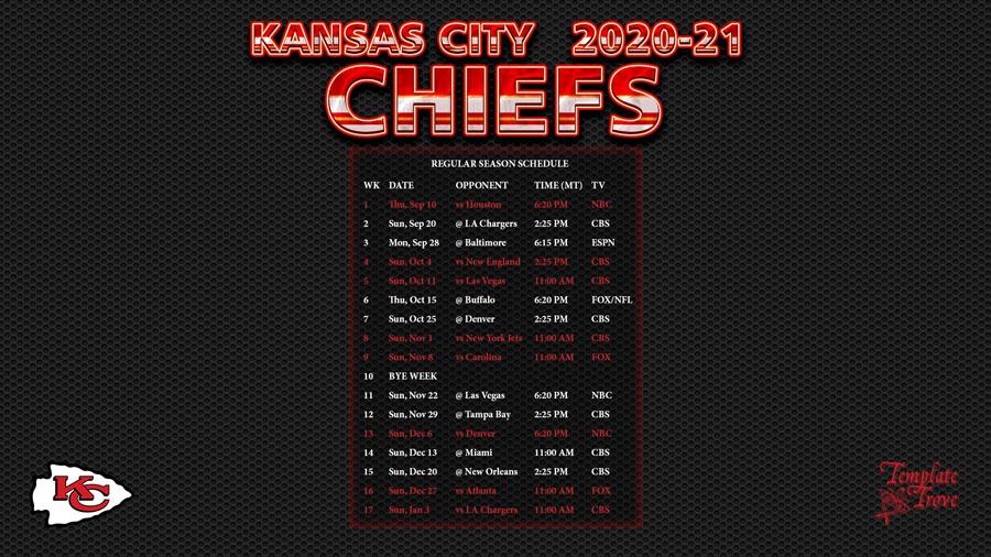 2020-2021 Kansas City Chiefs Wallpaper Schedule