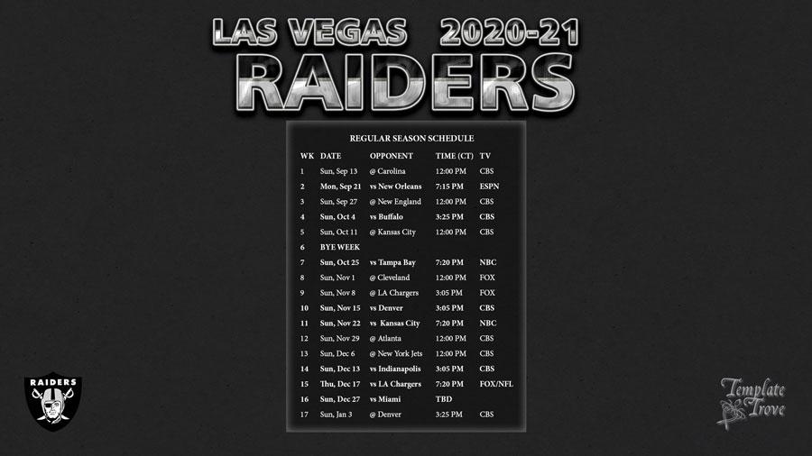 2020-2021 Las Vegas Raiders Wallpaper Schedule