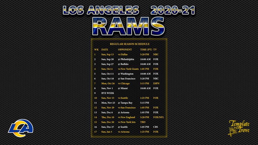 2020-2021 Los Angeles Rams Wallpaper Schedule