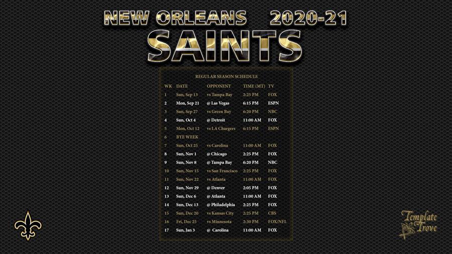 2020-2021 New Orleans Saints Wallpaper Schedule