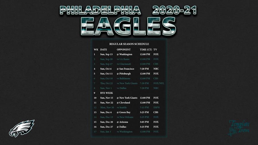 2020-2021 Philadelphia Eagles Wallpaper Schedule